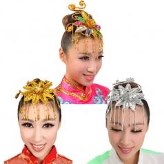 金色银色花色头花秧歌民族现代头花开场舞台演出舞蹈表演广场红色