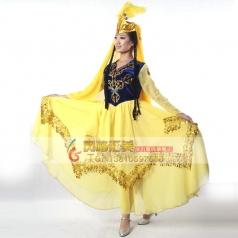 新款新疆舞蹈裙女装维族舞蹈演出服装民族服装V领亮片裙子
