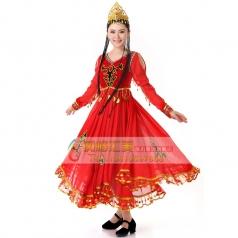 新款民族演出服装 舞台演出服饰 新疆舞蹈服装 维族舞蹈服饰