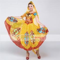 新疆维族舞蹈服装女 维族舞蹈服装演出服 新疆舞蹈服送头饰