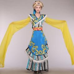 新款藏族舞蹈演出服装 女少数民族舞蹈表演服 藏族演出服装送头饰