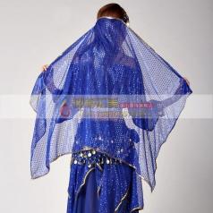 女士肚皮舞透明亮片网纱头纱 印度舞蹈金边头纱