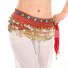 金币带钻腰链亮片彩色钻肚皮舞腰链印度舞蹈腰巾 加长加厚臀巾