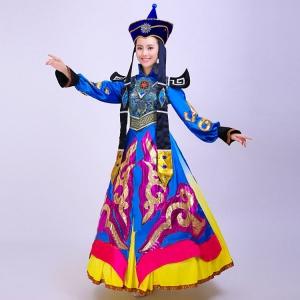 民族舞台服装女蒙古舞蹈演出服装 蒙古宝蓝色舞台舞蹈服装 可定做