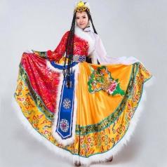 藏服 藏族舞蹈演出服女 民族服装 开场裙 蒙古裙 蒙族服装租赁