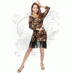 新款豹纹拉丁舞蹈服 舞台装 新款广场舞裙子出租
