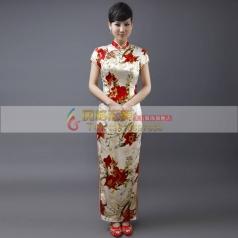 白色长款红花旗袍