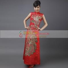 红色长款旗袍