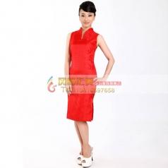 红色短款修身旗袍