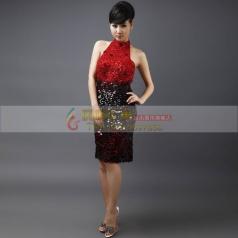 黑红短款旗袍