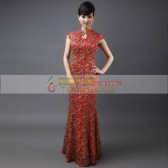红色改良长款旗袍