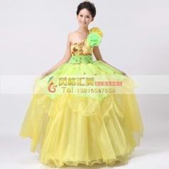 黄色单肩蓬蓬裙