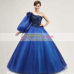 深蓝色蓬蓬裙