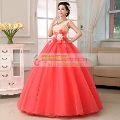 西瓜红蓬蓬裙