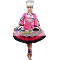风格汇美2015新款苗族民族服装土家族舞蹈演出服苗族舞蹈服长裙女