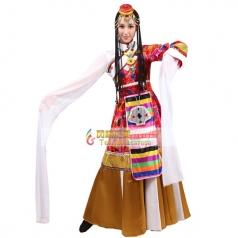 风格汇美新款少数民族舞蹈演出服水袖舞蹈演出服装年会开场舞蹈裙