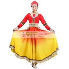 风格汇美新款蒙古舞蹈服装女演出服长袖蒙古舞蹈大摆裙舞蹈表演服