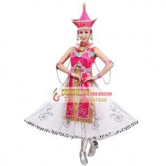 风格汇美新款蒙古舞蹈服装蒙古舞蹈演出服女枚红短袖舞蹈服套马杆