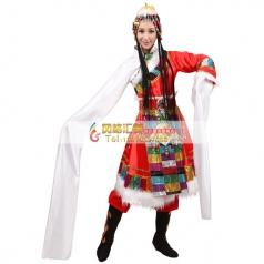 风格汇美新款藏族舞蹈演出服女成人水袖演出服装民族表演服装