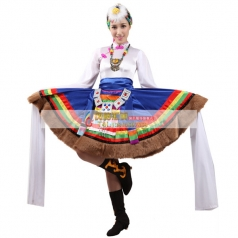 风格汇美新款白色藏族舞蹈服 西藏族舞蹈服装年会演出民族舞蹈服
