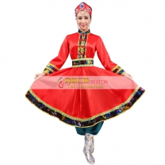 风格汇美新款蒙古舞蹈服装红色蒙古舞蹈演出服女少数民族舞蹈服装