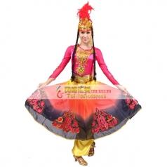 风格汇美新疆维吾尔族舞蹈服装女 新疆舞蹈演出服长裙民族舞蹈服