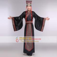 风格汇美新款古代影视演出服装 年会演出大臣服装 黑色古装汉服男