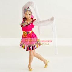 风格汇美新款藏族舞蹈演出服少数民族舞蹈服装年会舞蹈服