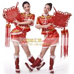 秧歌服装演出服 女装 年会开场舞服装 民族舞蹈定做