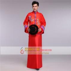 风格汇美男士秀禾服装男古代服装红色刺绣新郎敬酒服马褂唐装古装