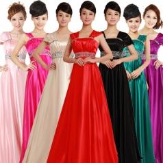 女式粉色长款合唱服装新款独唱服装定做