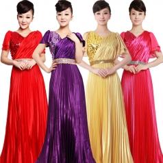 紫色双肩压折大合唱服装 女士亮片演出服装定做