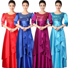新款宝蓝色亮片女士合唱服装定做出租长款舞台服_风格汇美演出服饰