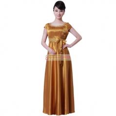 女士金色无袖长款合唱服装 女 中老年大合唱服装