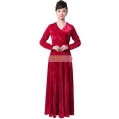 女士酒红丝绒合唱服装长袖长款中老年秋冬大合唱服装