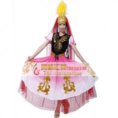 女士新疆舞蹈演出服粉色 维吾尔族表演服 出租民族舞蹈服装