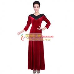 新款丝绒女士合唱服 酒红色长袖合唱服 定制