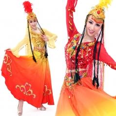 舞台民族服 红色少数民族维族演出服 新款新疆舞蹈演出服装
