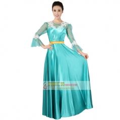 新款长袖仿真丝孔雀蓝女士合唱服装定制舞台表演合唱服装_风格汇美演出服饰