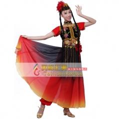 女士新疆舞蹈演出服黑红渐变 维吾尔族表演服 出租民族舞蹈服装