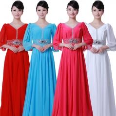 女式玫红色雪纺长款合唱服装
