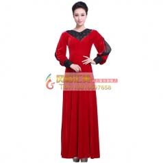 新款丝绒女士合唱服 红色长袖合唱服 定制