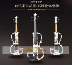 彩绘白色电子电声小提琴高档手工实木练习儿童成人初学者乐器