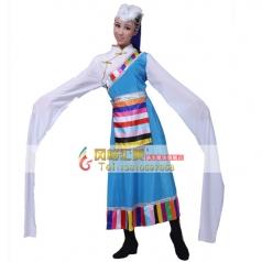 风格汇美 女子藏族加长水袖天蓝色演出服 租赁民族舞蹈表演服 藏