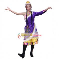 风格汇美租赁藏族服装 藏族舞蹈演紫色出服装女 出租表演服饰