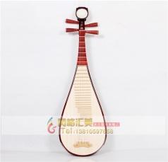 民族弹拨乐器专业红色椿木贝雕成人演奏琵琶_风格汇美演出服饰