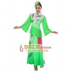 定做风格汇美 女士秧歌服装 绿色亮片树叶演出服装 秧歌表演服