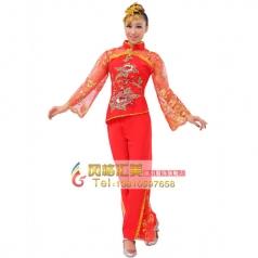 定做风格汇美 女士秧歌服装 红色演出服装大红牡丹秧歌表演服服