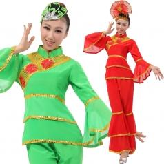 风格汇美 女士秧歌服装 红色绿色演出服装 大喇叭袖秧歌表演服服