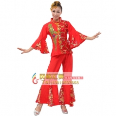 风格汇美 女士秧歌服装 亮片喇叭袖演出服装 秧歌表演服服